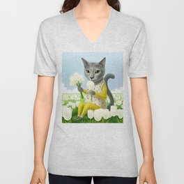 A cat sitting in the flower garden Unisex V-Neck