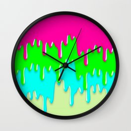 Funny Melting Icecream Neon Pink Green Teal Wall Clock