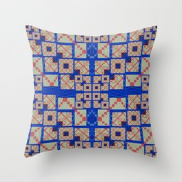 Retro Futuristic Modern Blue and Red Patchwork Geometry Throw Pillow