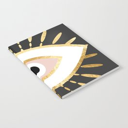 gold foil evil eye in blush Notebook