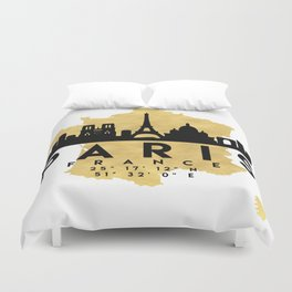 PARIS FRANCE SILHOUETTE SKYLINE MAP ART Duvet Cover