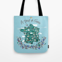 Map of french vineyards Tote Bag