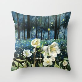 Magical Forest at Night, Fireflies and Helleborus Throw Pillow