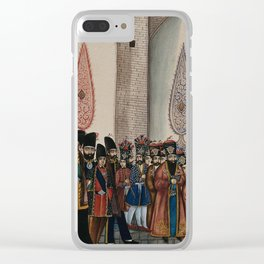 The king of Persia sitting on a horse with his entourage of officers, bodyguards, footmen and execut Clear iPhone Case