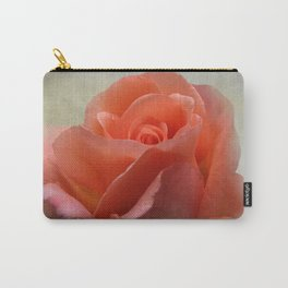 Romantic Peachy Rose Floral Carry-All Pouch