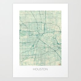 Houston Map Blue Vintage Art Print