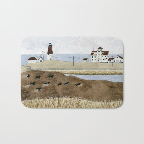Seashore lighthouse and wild horses Bath Mat