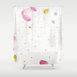 Geometric abstract free climbing bouldering holds white minimal pink Shower Curtain