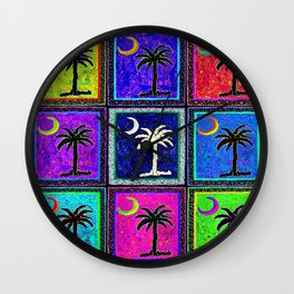 SC Palmetto State Flag/Warhol Style Wall Clock