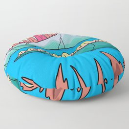 The forest mountain of the lake Floor Pillow