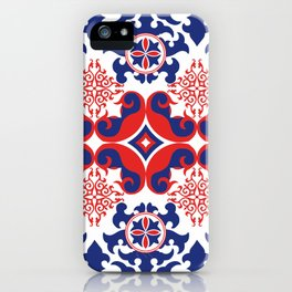 Asian red and blue pattern iPhone Case