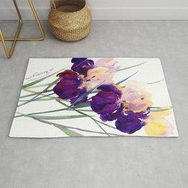 Deep Purple Flowers, Irises Rug