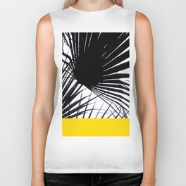 Black and White Tropical Palm Leaves on Sunny Yellow Biker Tank