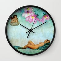 swimming Wall Clocks featuring swimming by Rosa Picnic