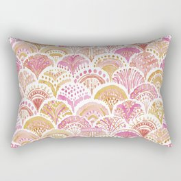 Sunset MERMAID DAYDREAMS Watercolor Scales Rectangular Pillow