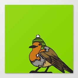 Robin in a hat Canvas Print