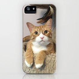 Orange cat oil finish iPhone Case