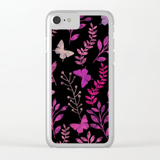 Watercolor flowers & butterflies III Clear iPhone Case