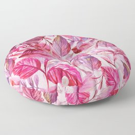 Pink and Purple Leaves in Watercolor Floor Pillow