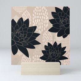 Black and Beige Retro // Neutral Flower Pattern Mini Art Print