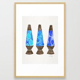 Retro Vibes – Blue Palette Framed Art Print