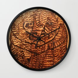 Bear pyrography Wall Clock