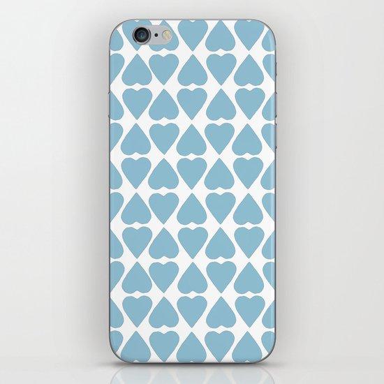 Diamond Hearts Repeat Blue iPhone Skin