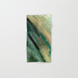 Green Thumb - an abstract mixed media piece in greens and blues Hand & Bath Towel