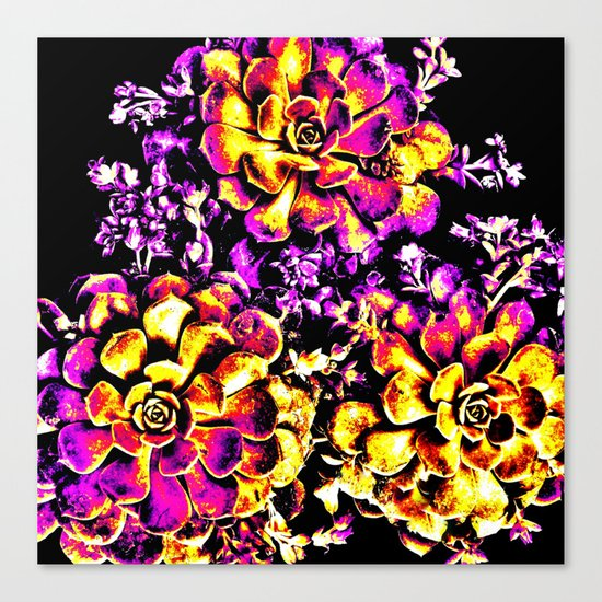 Purple Yellow Flower Plant, Pop Art Canvas Print
