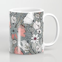Seamless pattern design with hand drawn flowers and floral elements Coffee Mug