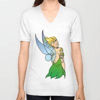 tinker bell V-neck T-shirts featuring Tinker Bell by NOBODY's Art