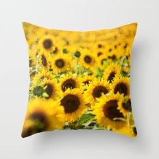 Through Fields of Light - Sunflowers Throw Pillow