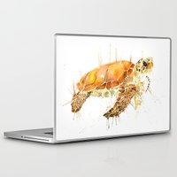 sea turtle Laptop & iPad Skins featuring Sea Turtle  by Meg Ashford