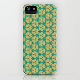 Hex Pattern 65 - Taupe/Turquoise iPhone Case