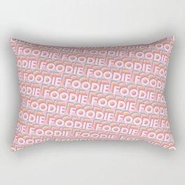 'Foodie' Trendy Rainbow Text Pattern (Pink) Rectangular Pillow