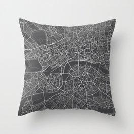 London Map, England - Gray Throw Pillow