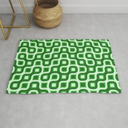 Truchet Modern Abstract Concentric Circle Pattern - Green Rug