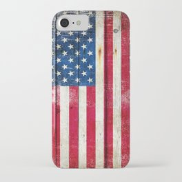 Vintage American Flag On Old Barn Wood iPhone Case