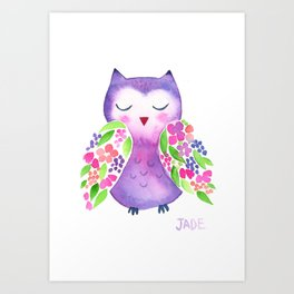 Floral Watercolor Owl Art Print