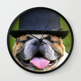 Silly Bulldog In Top Hat Wall Clock