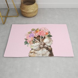 Baby Squirrel with Flowers Crown in Pink Rug