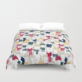 Happy llamas Christmas choir Duvet Cover