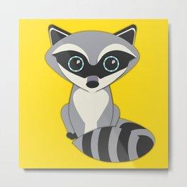 Forest Raccoon Nursery Set Metal Print