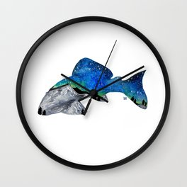 STARRY NIGHT GALAXY PLECO SUCKER FISH ARTWORK PAINTING Wall Clock