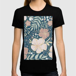 Big Flower Print in Muted Jewel Tones Green Pink Blue Yellow T-shirt