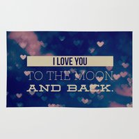 i love you to the moon and back Area & Throw Rugs featuring I Love You to the Moon and Back by Olivia Joy StClaire
