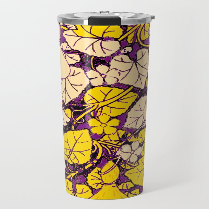 Grape Purple & Cream Garden Vines Yellow Design Travel Mug