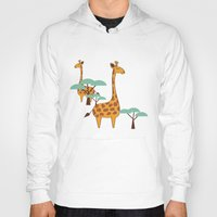 giraffes Hoodies featuring Giraffes by BlueLela