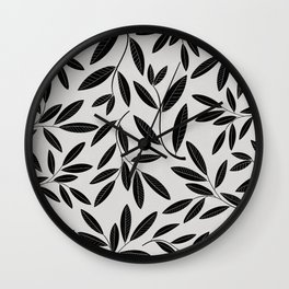 Black & White Plant Leaves Pattern Wall Clock