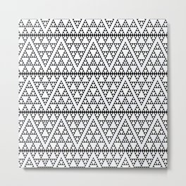 Triangles in Triangles Black on White Metal Print